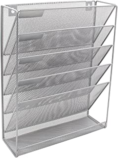 EasyPAG Mesh Wall Hanging File Holder Organizer Mounted Document Tray,Silver