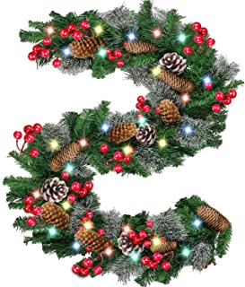 Christmas Garland with Lights Battery Operated, 9 FT Prelit Xmas Garland with 100 LED 18 Pine Corn 75 Red Berries Snowflake, Home Party Decor Christmas Garland for Fireplace Mantel Holiday Decoration