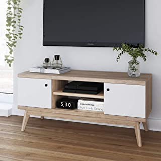 Scandinavian TV Stand Media Console – Multifunctional Wooden Storage Unit – Modern & Minimalist Style Livingroom & Bedroom Furniture – White Cabinet Doors & Pale Wood – TV Stand up to 50 inches