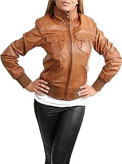 House Of Leather Giacca di Cuoio Reale del Bomber delle Donna Blouson Casuale Breve di Slim Fit Motto Nero