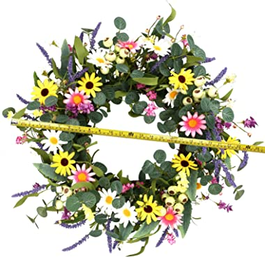 """Artificial Flower Wreath,24"""" Spring and Summer Floral Wreath Colorful Daisy and Lavender Wreath with Big Berries for Front Do"""