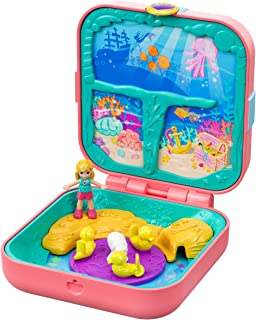 Polly Pocket Hidden Hideouts Mermaid Cove with 3 Reveals, 3 Accessories, 1 Micro Polly Doll & Sticker Sheet [Amazon Exclusive]