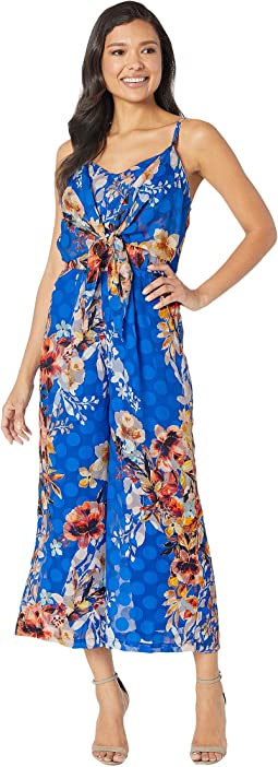 Floral Printed Ruffled Shoulder Straps Wide-Legged Jumpsuit