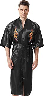 Men's Chinese Dragon Embroidered Satin Long Men Robe,Smoking Jacket Yukata Gift Pajamas Kimono for Men with 2 Pockets