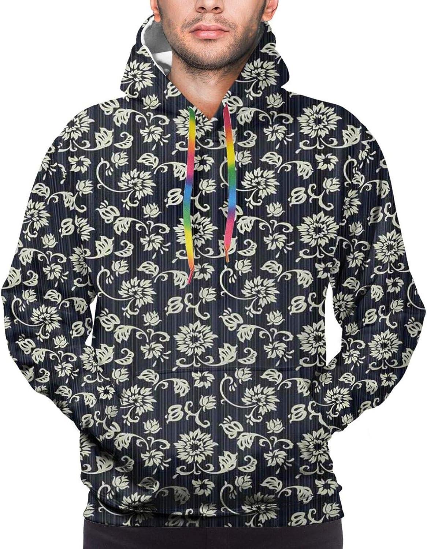 Men's Hoodies Sweatshirts,Retro Romantic Rose with Valentines Day Inspirations Flower Bouquet Silhouette