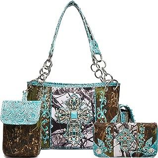 Western Style Camouflage Concealed Carry Purse Buckle Country Studs Women Handbag Shoulder Bag Wallet Set