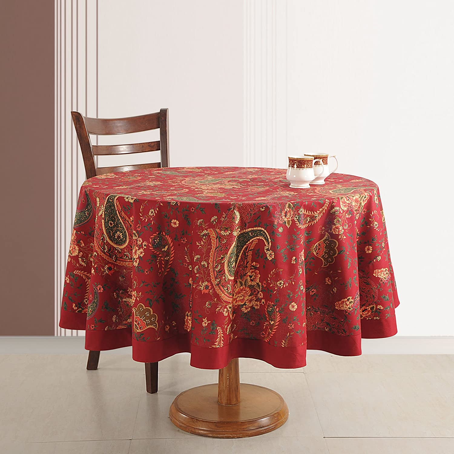 ShalinIndia Cotton Tablecloths 4 Seater Printed Floral Indian Home Décoration 70 Inches Round