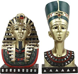 Ebros Golden Mask of Egyptian Pharaoh King TUT and Queen Nefertiti Statue Set of 2 Classical Ancient Egypt Royal Busts Decorative Figurines
