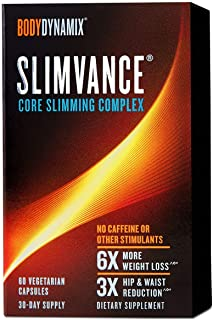 BodyDynamix Slimvance Core Slimming Complex, 30 Day Supply, 60 Vegetarian Capsules, Stimulant Free Weight Loss Support