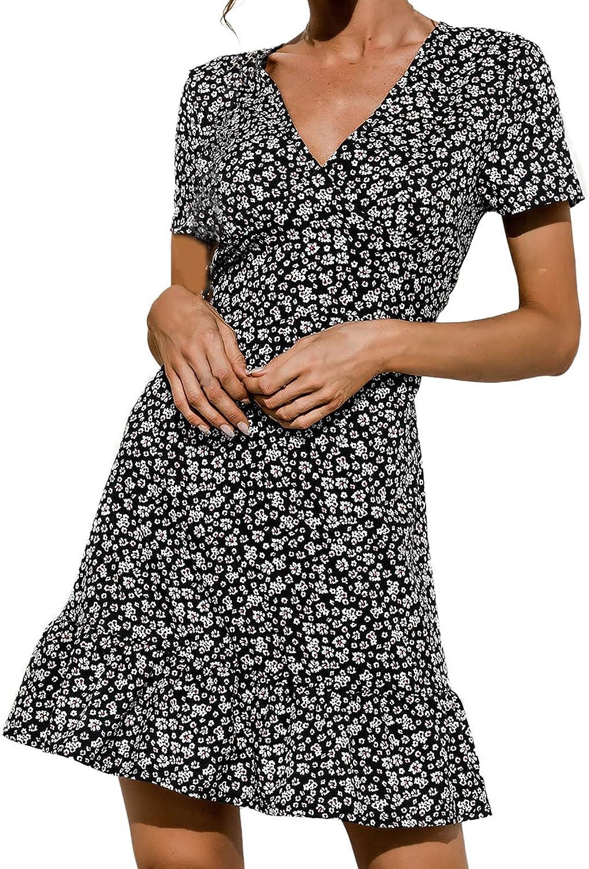 Summer Dresses for Women Fashion V-Neck Short Sleeve Print Dress Ladies Slim Sexy Casual Beach Sundress Mini Dress