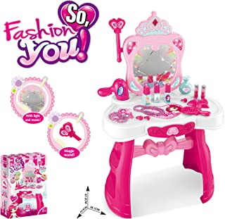 Lanpn Dress-Up Toy Vanities Beauty Dresser Table Set, Magic Mirror with Flashing Lights and Music, and other Fashion & Makeup Accessories, Pretend Play Toys for 2 to 4 yrs Girls