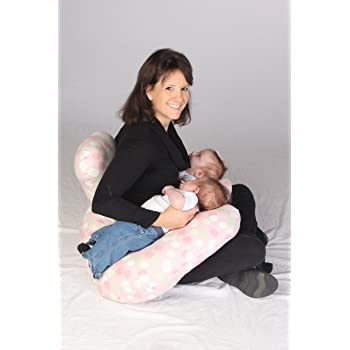 Twin Z Pillow The Cream - 6 uses in 1 Twin Pillow ! Breastfeeding, Bottlefeeding, Tummy Time, Reflux, Support and Pregnancy Pillow! Cuddle Cream DOTS