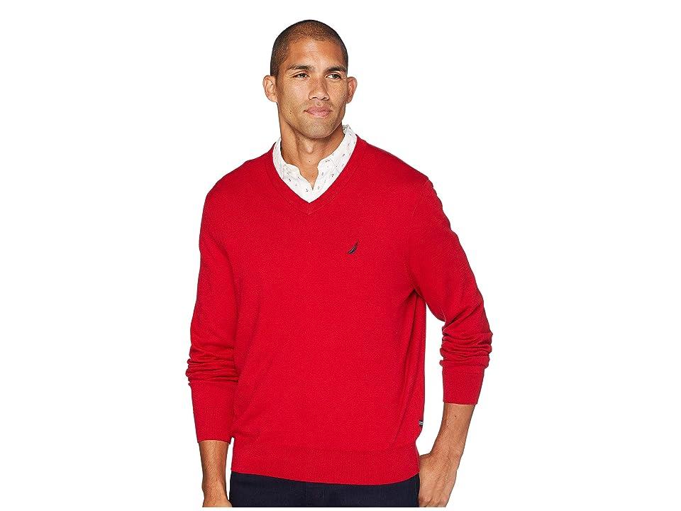 Nautica 12 Gauge Jersey V-Neck Sweater (Nautica Red) Men