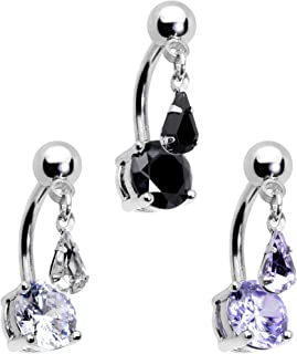 Body Candy Womens 3PCS Stainless Steel Top Mount Body Piercing Jewelry Dangle Belly Button Ring