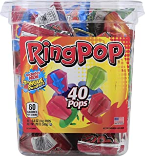 Ring Pop Hard Candy Pops, Variety Pack, 40 Count