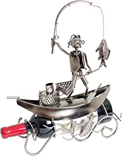 BRUBAKER Wine Bottle Holder Fisherman on a Boat - Metal - Statue, Sculptures and Figurines - Decor Wine Racks and Stands - Gifts & Decoration