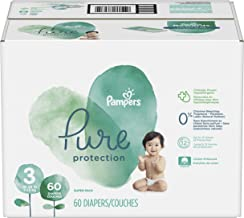 Diapers Size 3, 60 Count - Pampers Pure Disposable Baby Diapers, Hypoallergenic and Unscented Protection, Super Pack