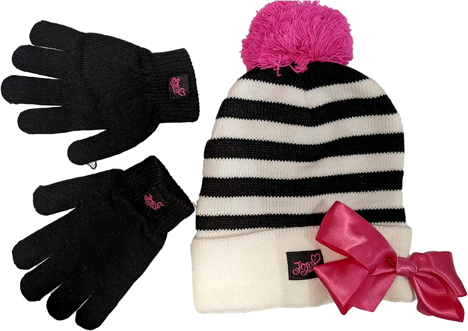 Nickelodeon JoJo Siwa Girls Winter Hat and Gloves Cold Weather Set, Age 4-7