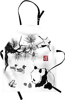 Lunarable Asian Apron, Bird Cedar Panda Bear Traditional Japanese Painting Style Art Hieroglyph Way, Unisex Kitchen Bib with Adjustable Neck for Cooking Gardening, Adult Size, White Black