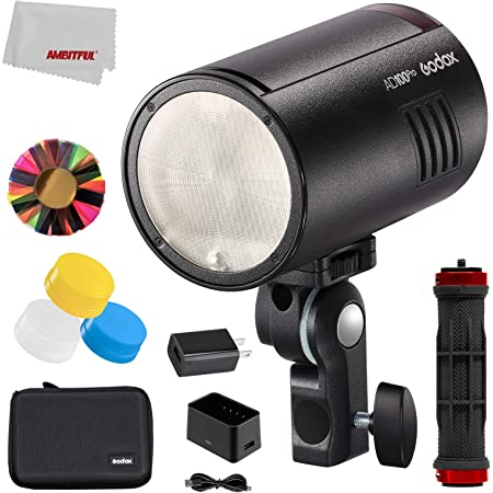 Godox AD100Pro 100Ws TTL 2.4G 1//8000 HSS Outdoor Flash Light 2600mAh Battery 0.01-1.5s Recycling,with AK-R1 Round Head Accessories Kit Three-Color Diffusers