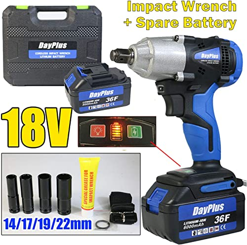 """discount Impact Wrench 18V Cordless Wrench Kit, High Torque 420N.m Variable Speed, 1/2"""" Keyless Chuck, outlet online sale Built-in LED online Light, with 2Pcs 6.0Ah Li-ion Battery, Fast Charger, 4 Sockets and Storage Tool Case outlet sale"""