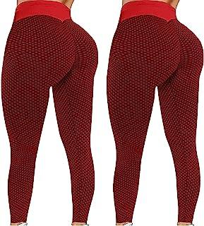 Riou Pantaloni Yoga Donna Leggins Sportivi Push up Booty Anti-Cellulite Pantalone a Vita Alta Sexy Bottino Yoga Pants Comp...