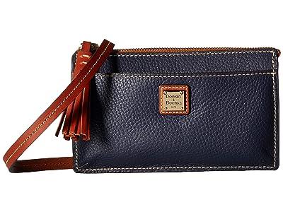 Dooney & Bourke Pebble Gingy Crossbody (Midnight Blue/Tan Trim) Cross Body Handbags