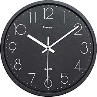 Plumeet Black Silent Wall Clocks - Non Ticking Quartz Round Clock Decorate Bedroom Home Kitchen Office - Battery Operated...