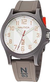 ساعة نوتيكا كوارتز بسوار سليكون للرجال، رمادي، 20 كاجوال موديل NAJSS118