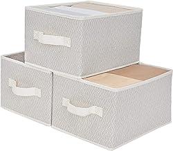 StorageWorks Woven Diamond Storage Bins with handles, Ornament Storage Box, Collapsible Storage Basket for Shelves, Medium...
