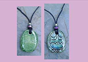 Mayan AK'BAL Necklace Mesoamerican Tzolk'in Day Sign Darkness Glyph Ceramic Amulet Turquoise Green Clay Pendant