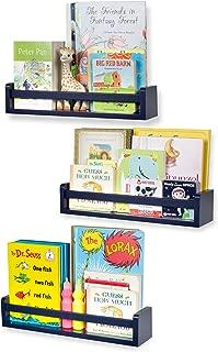 Nursery Décor Wall Shelves – 3 Shelf Set – Floating Bookshelves for Baby & Kids Room, Book Organizer Storage Ledge, Display Holder for Toys, CDs, Spice Rack – Ships Assembled (Navy Blue)