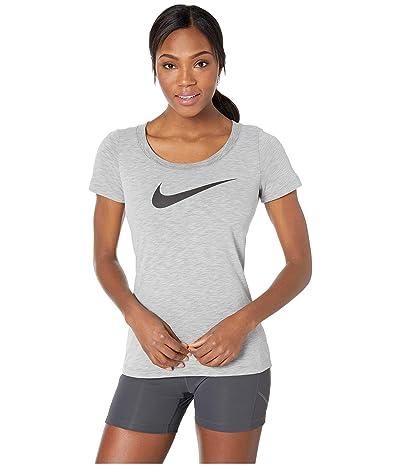 Nike Dry Tee Scoop Swoosh Cross-Dye (Dark Grey Heather/Heather/White) Women
