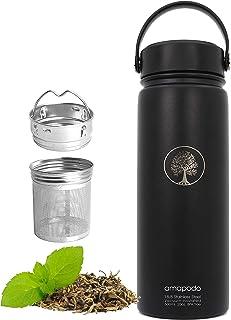 amapodo Trinkflasche Edelstahl 600ml isoliert mit Sieb, Tee Thermoskanne Schwarz