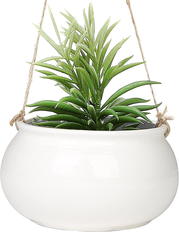 Challenge the lowest price Mediterranean Style Round White Ceramic Hanging Ranking TOP9 Planter inch P 7