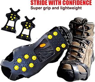 Crampons Ice Traction Cleats - Grips Quickly and Easily Over Footwear for Snow and Ice - Portable -Sizes: S/M/L/XL