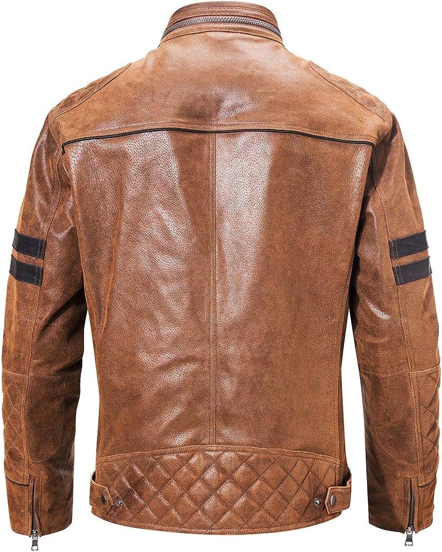 FLAVOR Mens Leather Motorcycle Jacket Brown Biker Stand Collar
