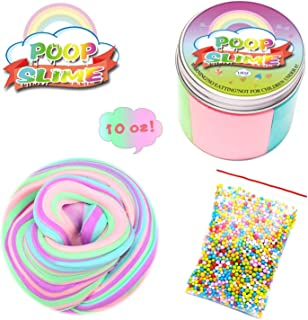 Fluffy Slime-Unicorn Poop Slime Kit-10OZ Jumbo Fluffy Floam Slime Stress Relief Toy Scented Sludge Toy for Kids and Adults, Super Soft and Non-sticky, ASTM Certified, 4 Colors-Unicorn Gifts for Girls