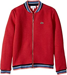 Lacoste Kids - Long Sleeve Full Zip Jacket with Rib Tipping (Toddler/Little Kids/Big Kids)