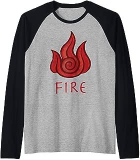 Avatar The Last Air Bender Fire Element Logo Raglan Baseball Tee