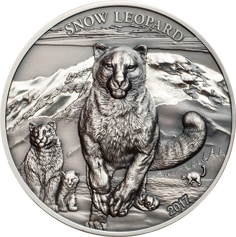 Power Coin Snow Leopard Schneeleopard High Relief Animals 1 Oz Silber Münze 500 Togrog Mongolia 2017