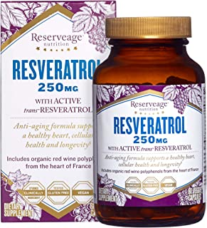 Reserveage, Resveratrol 250 mg, Antioxidant Supplement for Heart and Cellular Health, Supports Healthy Aging, Paleo, Keto,...