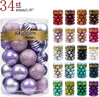 KI Store 34ct Christmas Ball Ornaments Small 1.57-Inch Lavender Purple Shatterproof Christmas Decorations Tree Balls for Holiday Wedding Party Decoration, Tree Ornaments Hooks Included