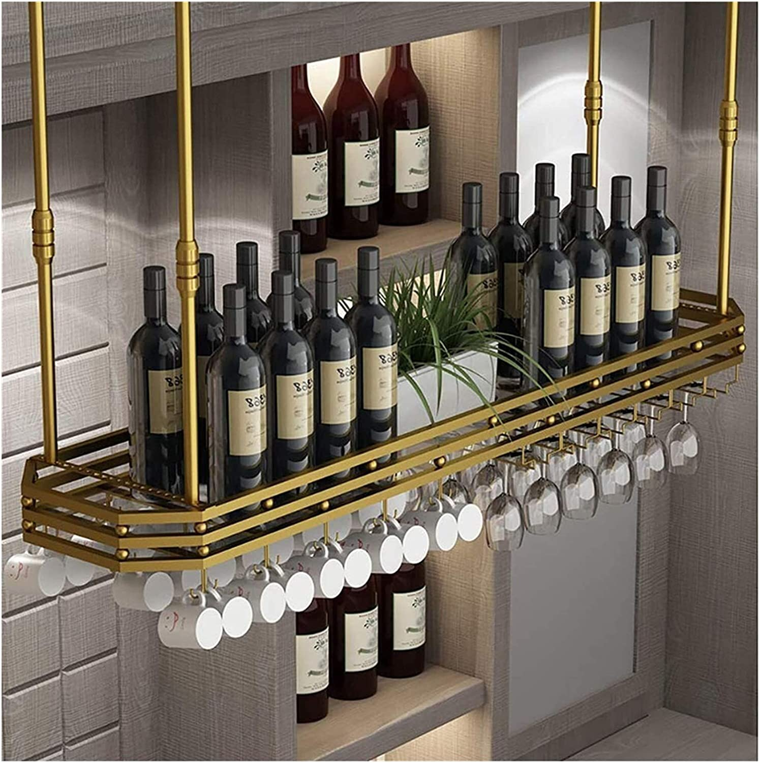 Omaha Mall LXYYY Wine Rack Ceiling Bargain sale Hanging A Height Bottle Holder
