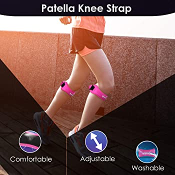 IPOW 2 Pack Knee Pain Relief & Patella Stabilizer Knee Strap Brace Support for Hiking, Soccer, Basketball, Running, J...
