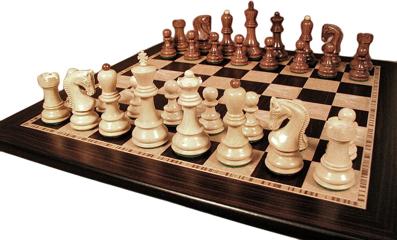 Sheesham Old Russian Chess Set With Ebony   Maple Board