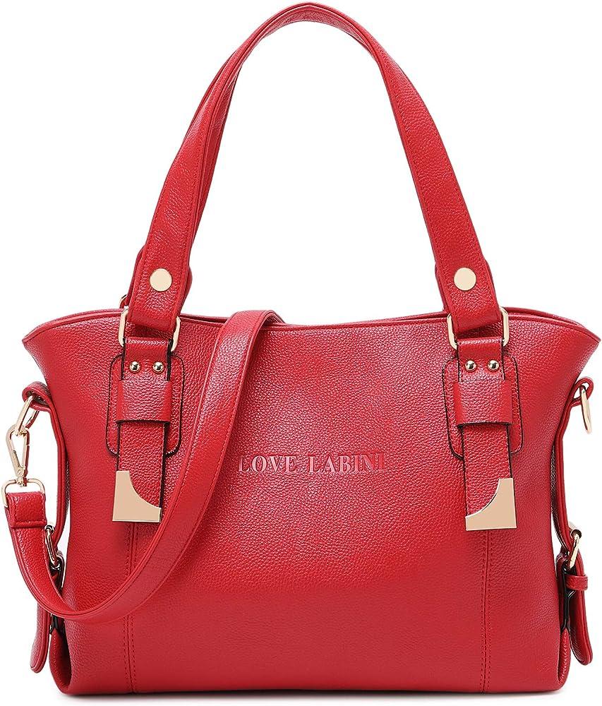 Love labini®, borsa per donna, a mano/tracolla, in pelle composita, rossa