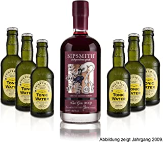 Gin Tonic Set - Sipsmith Sloe Gin Jahrgang 2015 0,5l 29% Vol  6x Fentimans Tonic Water 200ml inkl. Pfand MEHRWEG -Enthält Sulfite
