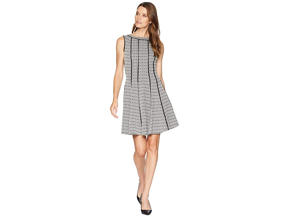 Taylor Piped Fit and Flare Dress (Black/Ivory) Women