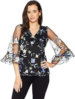 V-Neck 3/4 Bell Sleeve Floral Top
